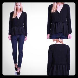 JAMISON Black Layne Silk Cashmere Cardigan-Small